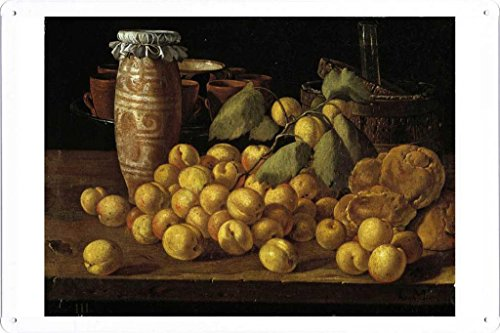 Artwork Oil Paint of Melendez, Luis Egidio - Bodegon albaricoques, bollos y recipientes, Third quarter of 18 Century on Tin Sign by Masterpiece Collection (20*30cm)