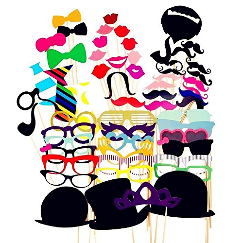Photo Booth Prop Sticks DIY Kit Dress-up Accessories, Wedding Christmas Thanksgiving Birthdays Party Favor Fun Costumes, Mustache with Stick, Hats, Glasses, Mouth, Bowler, Bowties (58 -