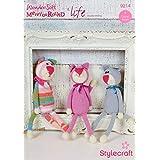 Stylecraft 9214 Crochet Pattern Kittens & Paw Print Pillow in Wondersoft MerryGoRound and Life DK by Stylecraft