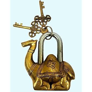 Tibet Turtle Brass Buddhist Tortoise Green Handmade Lock Padlock Lock Keys BL 08