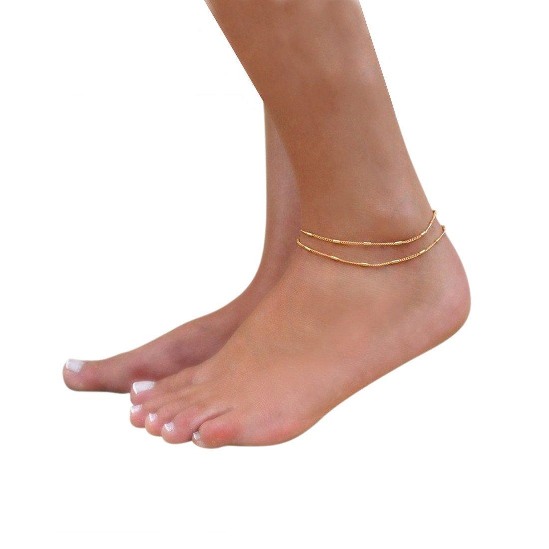 Fettero Women Handmade Dainty Anklet Silver 14K Gold Fill Boho Beach Foot Chain Adjustable Ankle Bracelet AK1-1-Two