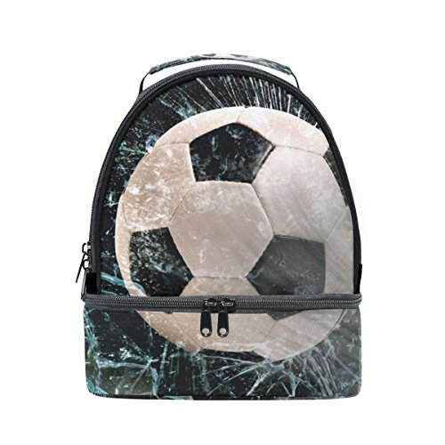 Insulated Lunch Box Soccer Ball Through Glass Cooler Bag Large Tote Bag Lunch Bag by FORMRS