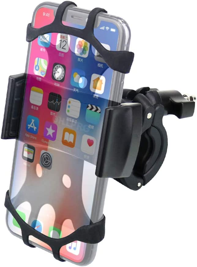 """OHLPRO Bike Phone Mount,Bicycle Cell Phone Holder Universal Motorcycle Handlebar Rack with 360° Rotation Adjustable Anti Shake Silicone Bands Cycling for iPhone Samsung All 4.0""""-6.0"""" Phones Black"""