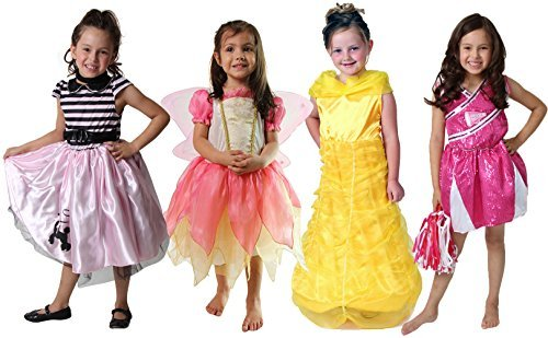 Classic Storybook Princess Dress 4 Pack Set (Assorted Size 3-6 Years (2/4 & 4/6)...
