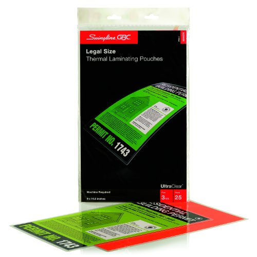 Swingline GBC UltraClear Thermal Laminating Pouches, Legal Size, 3 Mil, 25 Pack (3200578)