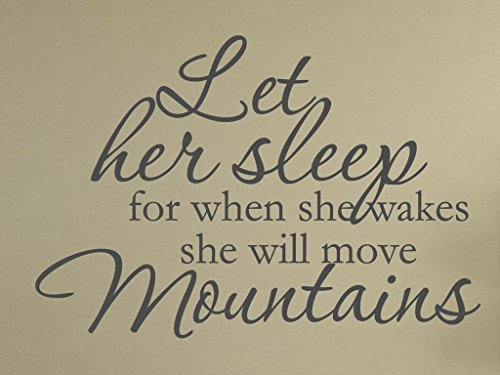 """Vinylsay """"Let her sleep for when she wakes she will move mountains"""" Wall Decor Sticker, 33"""" x 22"""", Matte Dark Grey"""