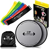 E LV Resistance Loop Bands and Exercise Sliders Set Home & Personal Fitness Equipment | 5 Elastic Bands + 2 Gliding Discs | Awesome Core, Legs, Abs Workouts | Physical Therapy & Injury Prevention