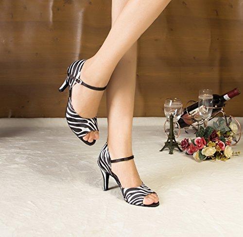 Crc Womens Peep Toe Raso Da Ballo Morden Tango Party Wedding Professionale Scarpe Da Ballo Nero Leopardo