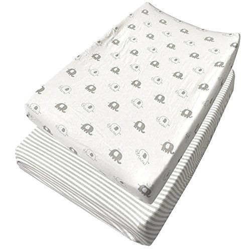 Changing Pad Covers 2 Pack Extra Soft Jersey Cotton - Gray Stripes & Elephants - TOP QUALITY Nursery Bedding for Boy and Girl (Cub Covers)