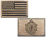 "HFDA 2 piece US Flag and KB MASSACHUSETTS Flag Patches Velcro Morale Patches Cloth Fabric Badges Tactical Patches for Cap Jackets (2""x3"", Color 8)"