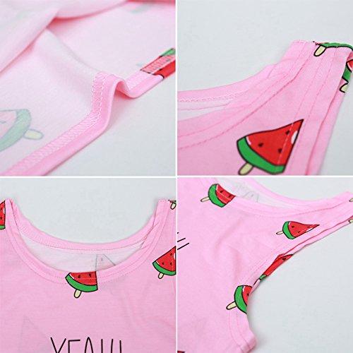 Jiayiqi Frauen Mädchen Niedlich Gedruckt Crop Top Ärmelloses T-Shirt Tops Wassermelonen-rosa IAtVbEa