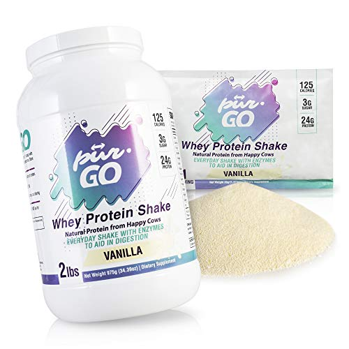 Protein Shake High Quality Powder for Every Day Use by Pur-Go Made in the USA - 100 % Natural Whey Protein from Happy Cows Vanilla Flavor - 2 lbs