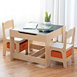 Costzon Kids Table and 2 Chairs Set, 3 in 1 Wooden Table Furniture for Toddler, Activity Table Desk Sets (Convertible Set with Storage Space)