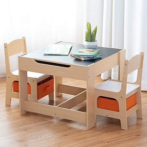 Costzon Kids Table and 2 Chairs Set, 3 in 1 Wooden Table Furniture for Toddlers Drawing, Reading, Train, Art Playroom, Activity Table Desk Sets (Convertible Set with Storage Space)]()