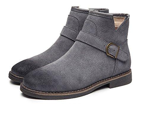 Aisun Damen Flache Kurzschaft Stiefel Worker Boots Schlupfstiefel Stiefelette Mit Klett Schwarz 37 EU a2dHO0P