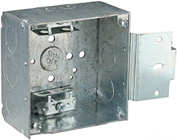 Steel City 52171-X Pre-Galvanized Steel Square Box with C-3 Armored Cable Clamps and 1//2-Inch and 3//4-Inch Eccentric Knockouts