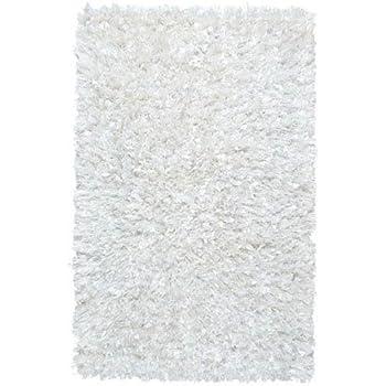 Amazon Com White Shimmer Shag 3 X3 Round Rug Kitchen