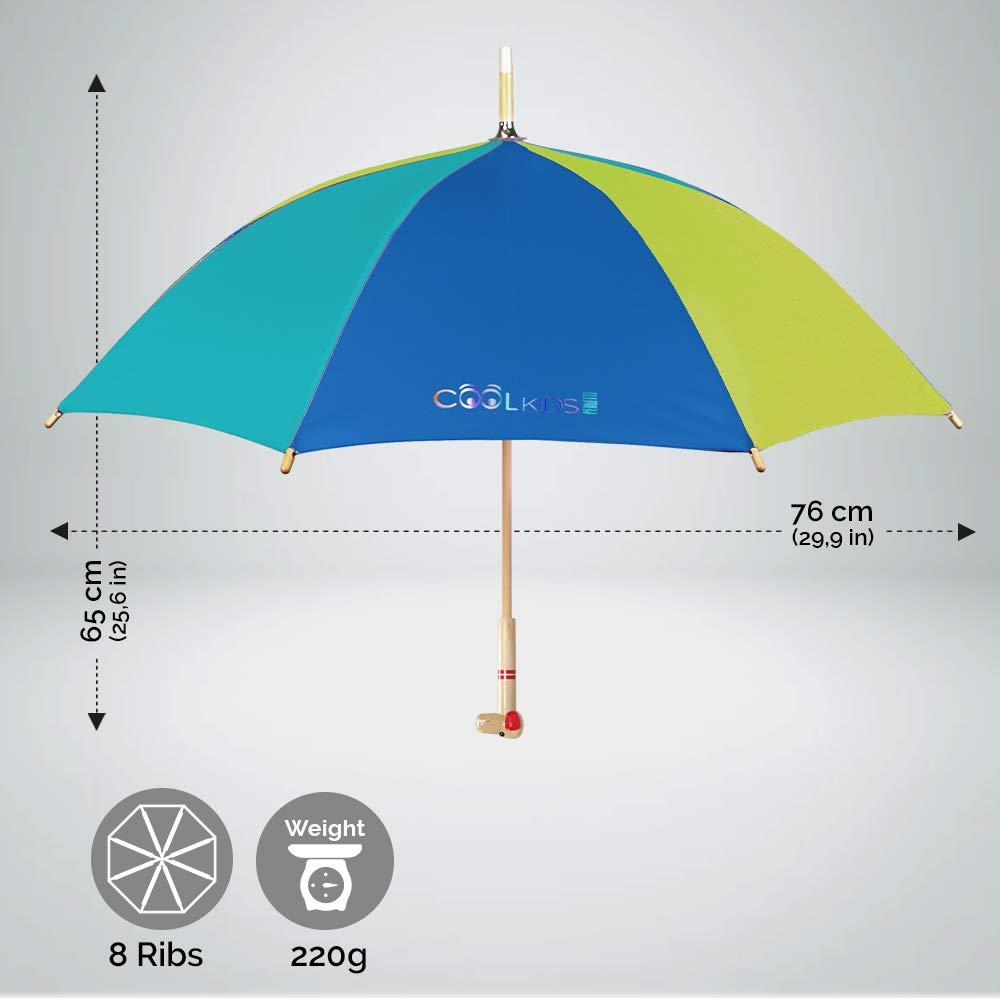 Paraguas para Niños y Niñas con Mango de Madera en Forma de Oso y Perro - Apertura Manual de Seguridad - 3/6 Años - Diámetro 76 cm - Perletti Cool Kids ...