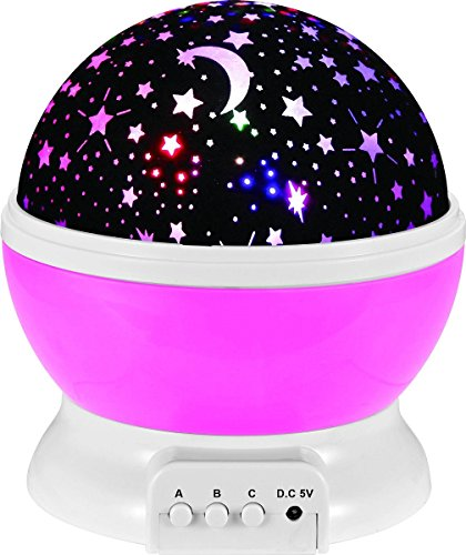 Night Lighting Lamp, Fosa 4 LED Beads 9 Light Color Changing and 360 Degree Romantic Rotating Sky Moon & Cosmos Cover Projector Night Lighting for Kids Bedroom, Best Baby Gift, Christmas Gift (Pink)