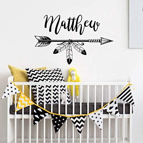Personalized Name Rustic Boho Arrow Nursery Baby Decor Wall Decals Decor Vinyl Sticker SK9343