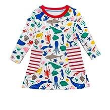 Anxinke Little Girls Long Sleeve Stripes Crewneck Loose Cartoon Dress