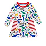 Anxinke Little Girls Long Sleeve Stripes Crewneck Loose Cartoon Dress (4, White)