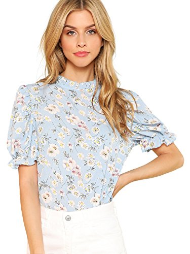 Romwe Women's Floral Print Ruffle Puff Short Sleeve Casual Blouse Tops Blue Middle