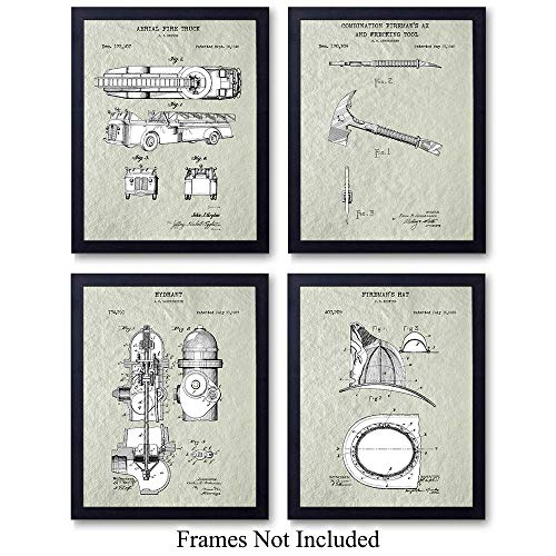 - Firefighters Patent Wall Art Prints - Set of Four (8x10) Vintage Unframed Photos - Perfect Gift For Firemen and First Responders, Great For Home Decor - Cream