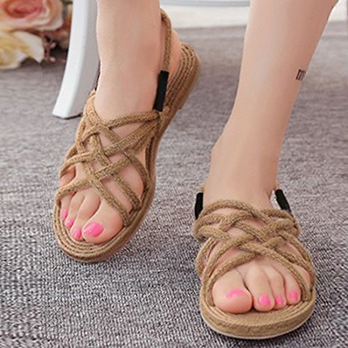 Vertvie Damen Sommer Flache Schuhe Offene Sandalen Bandage Freizeit Sandalen Strandschuhe Zehentrenner Flip Flop Hausschuhe Aprikose