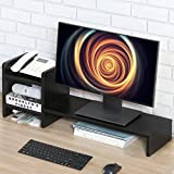 Homury Wood Computer Monitor Stand Riser Laptop Cellphone Printer Multi Media Stand with Non Removable 2-Tier Desktop Storage,Black
