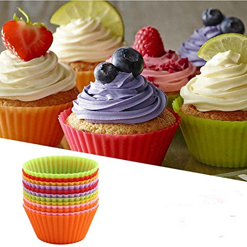 12pcs colorful Mini Round shape Silicone Muffin Cupcake Mould Bakeware Maker Mold Tray Baking Cup Molds