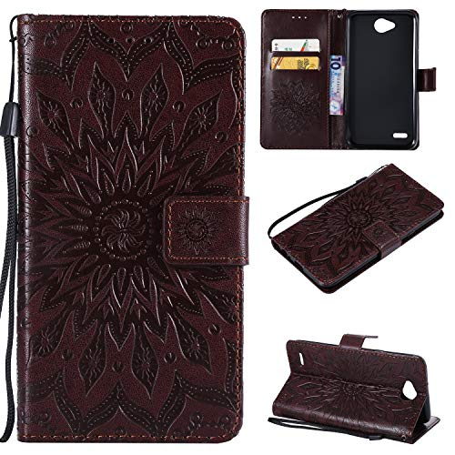 NOMO LG X Power 2 / X Charge / K10 Power/Fiesta 2 LTE Case,LV7 Flip Case PU Leather Emboss Mandala Sun Flower Folio Magnetic Kickstand Cover with Card Slots for LG X Power 2/LV7 Brown ()
