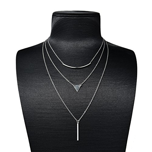 Triple Chain Charm Necklace - 3