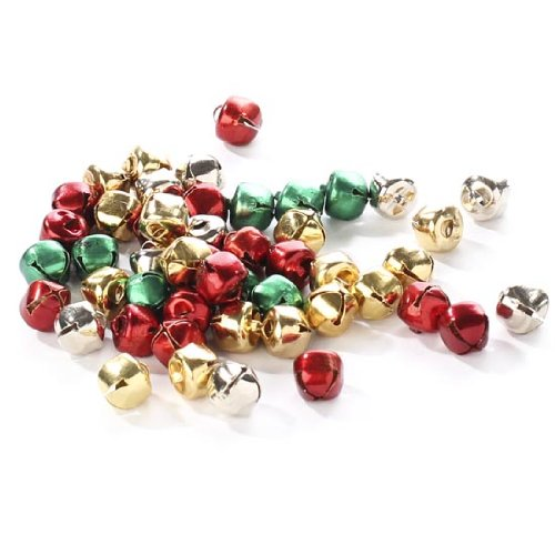 - Package of 200 Miniature Assorted Holiday Colored Jingle Bells