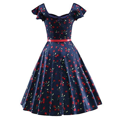 vestidos mujeres Vintage Retro Rokabilly casuales V088-Azul
