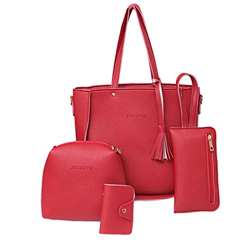 Women Messenger Bag Vintage Bag Tote Shell Bolsas Lady Pouch(red) - 5