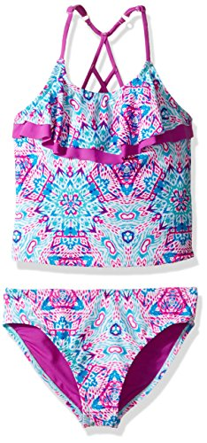 Vigoss Big Girls' Ziggy Two Piece Flounce Ladder Back Tankini Swimsuit, Purple Cactus, 10/12