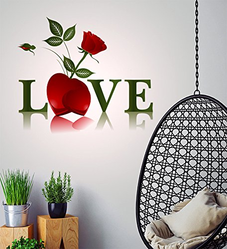 Decals Design 'Love Word and Red Rose Valentine's Day' Wall Sticker (PVC Vinyl, 50 cm x 70 cm)