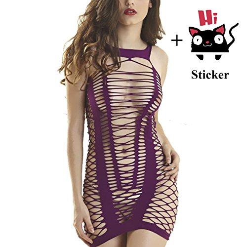 (Zzmart Women Mesh Chemise Lingerie Dress, Fishnet Babydoll Lingerie Nightwear(One Size) )