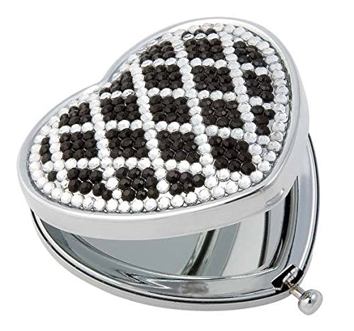 Heart Shaped Personal Purse Mirror with Crystal Decorations