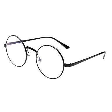 5ca7e6ad16ab30 ZARU Flache Runde Sonnenbrille, Frauen Mode Sonnenbrille Metallrahmen  Sonnenbrille Retro Vintage Sonnenbrille Ton-Spiegel