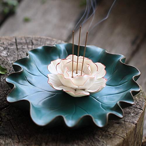 (Miubud Ceramic Lotus Flower Incense Stick Holder - Incense Burner Holder Wide to Catch More Ashes)
