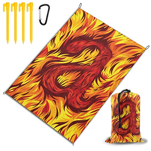 LHLX HOME Burning Letter A Orange Flame Picnic Blanket Handy Beach Mats with Waterproof Backing Anti Sand for Picnics, Beaches, Camping and Outings 78x57 - Orange Flame Grass