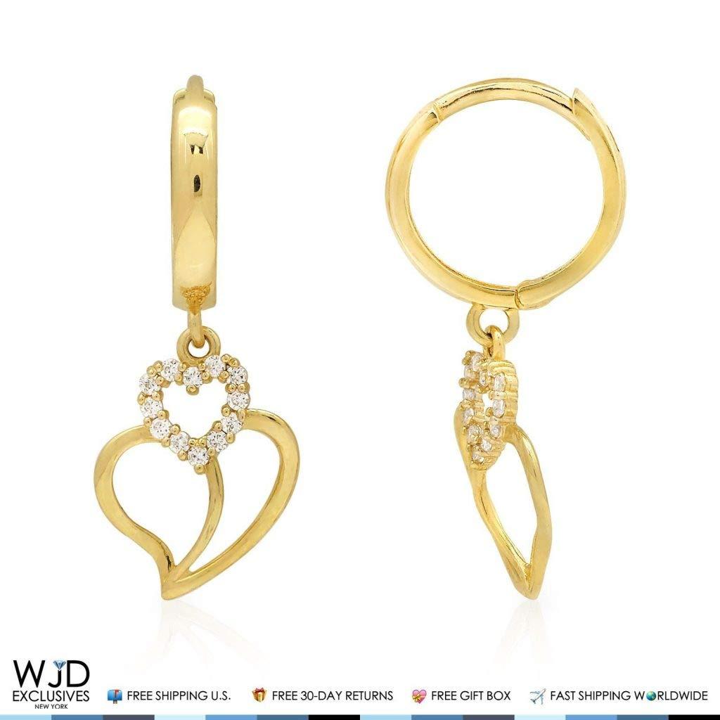 14K Yellow Gold 0.30Ct Simulated Diamond Heart Huggie Hoop Dangle Earrings