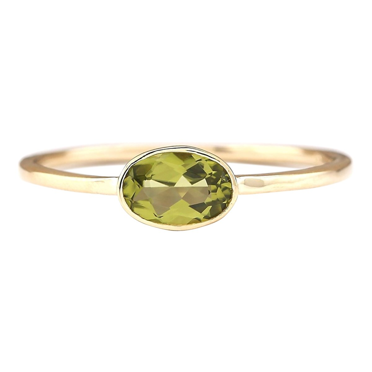 0.6 Carat Natural Green Peridot 14K Yellow Gold Solitaire Promise Ring for Women Exclusively Handcrafted in USA by Unknown