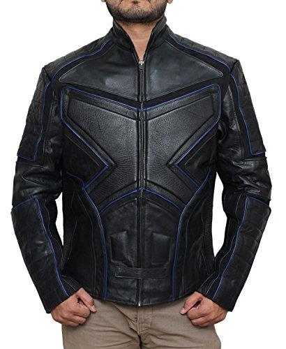 Men Black Biker Real Leather Jacket - Birthday Gift for Father 3XL (Jacket Gang Biker)