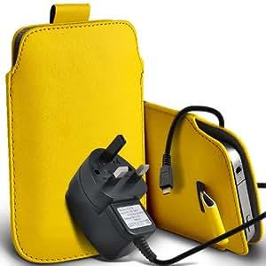 Nokia Lumia 510 premium protección PU ficha de extracción de deslizamiento del cable En caso de la cubierta y Micro Pouch Pocket Skin USB CE aprobó 3 Pin Cargador amarillo por Spyrox