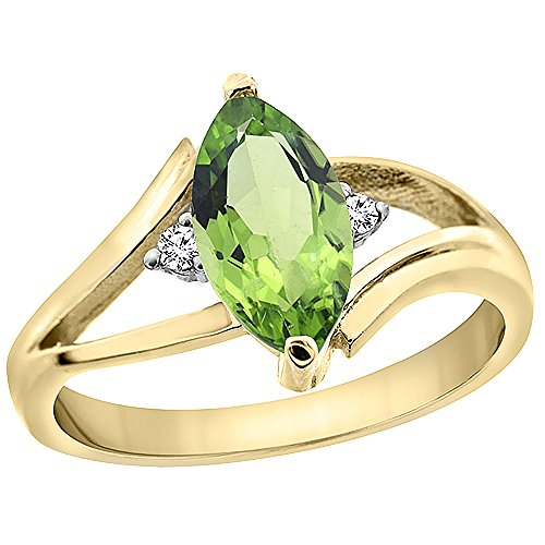 14K Yellow Gold Natural Peridot Ring Marquise 10x5mm Diamond Accent, size 7
