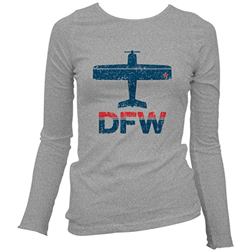 Smash Vintage Women's Fly DFW Dallas-Fort Worth Airport Long Sleeve T-shirt - Sport Gray, - Airport Dfw Shops