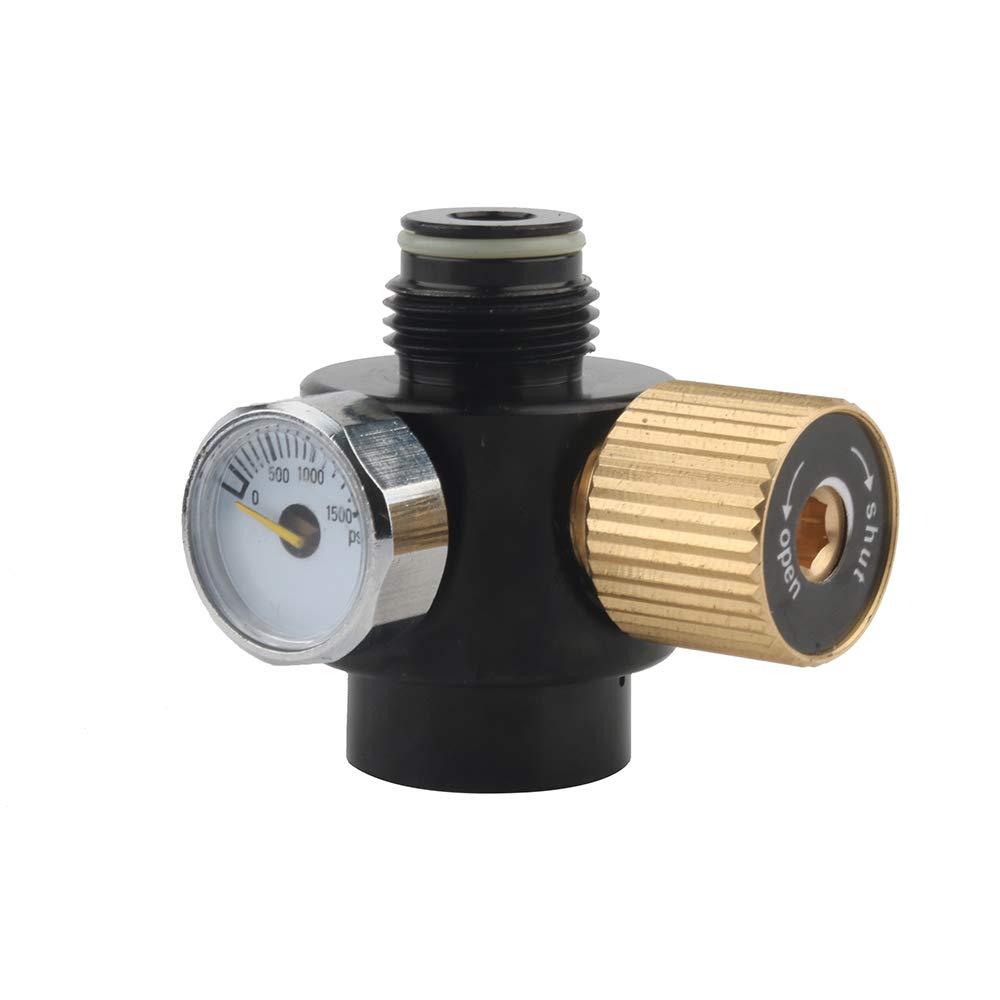 Gurlleu Adjustable PCP Paintball Tanks Regulator 0.825-14 NGO Output Thread Compressed Air Valve Gauge (0-800 PSI) by Gurlleu